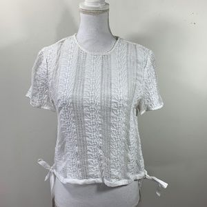 Madewell Embroidered Blouse tie waist short sleeve
